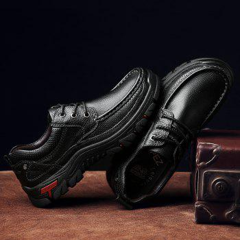 Men Casual Shoes Leather Business Shoes - BLACK 40