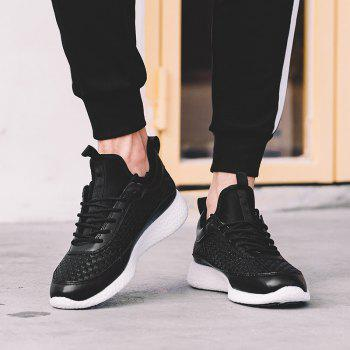 Breathable Lace Up FlatsSneakers Athletic Outdoor Casual Running Shoes - BLACK 43