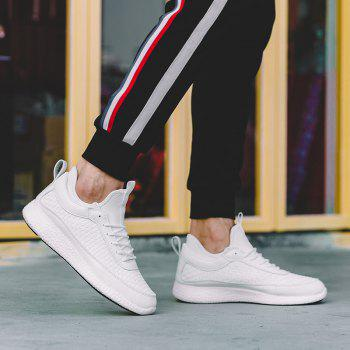 Breathable Lace Up FlatsSneakers Athletic Outdoor Casual Running Shoes - WHITE 42