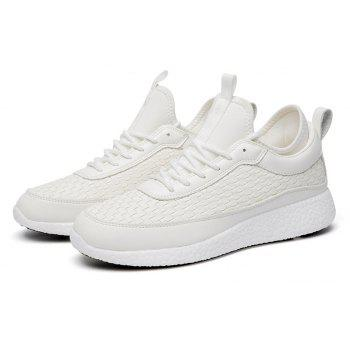 Breathable Lace Up FlatsSneakers Athletic Outdoor Casual Running Shoes - WHITE 44