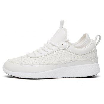Breathable Lace Up FlatsSneakers Athletic Outdoor Casual Running Shoes - WHITE 43