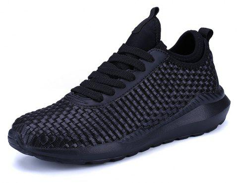 Breathable Lace Up FlatsSneakers Athletic Outdoor Casual Running Hiking Shoes - BLACK 40