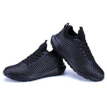 Breathable Lace Up Flats Sneakers Athletic Outdoor Casual Running Hiking Shoes - BLACK 40