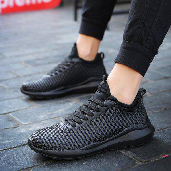 Breathable Lace Up Flats Sneakers Athletic Outdoor Casual Running Hiking Shoes - BLACK 44