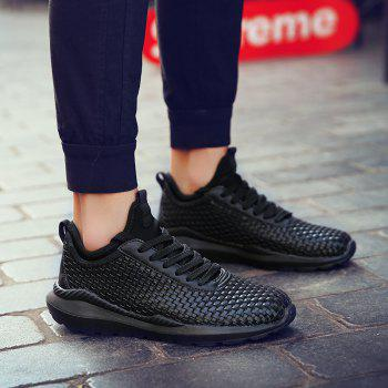Breathable Lace Up FlatsSneakers Athletic Outdoor Casual Running Hiking Shoes - BLACK 39