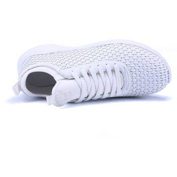 Breathable Lace Up Flats Sneakers Athletic Outdoor Casual Running Hiking Shoes - WHITE 44