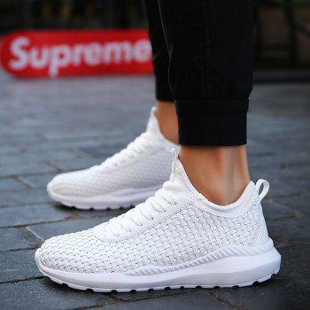 Breathable Lace Up FlatsSneakers Athletic Outdoor Casual Running Hiking Shoes - WHITE 41
