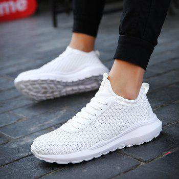 Breathable Lace Up FlatsSneakers Athletic Outdoor Casual Running Hiking Shoes - WHITE 43
