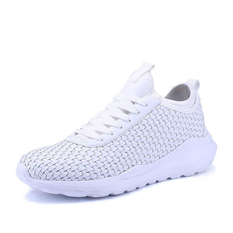 Breathable Lace Up Flats Sneakers Athletic Outdoor Casual Running Hiking Shoes - WHITE 40