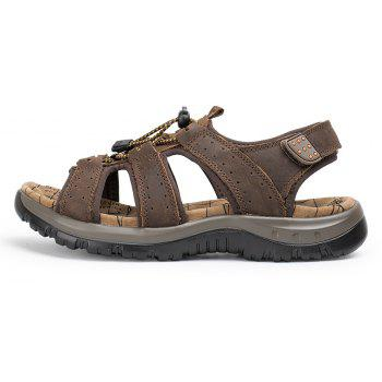 Sandals Leather Beach Casual Shoes Slippers Flip Flops Summer FlatsSneakers - DEEP BROWN 39