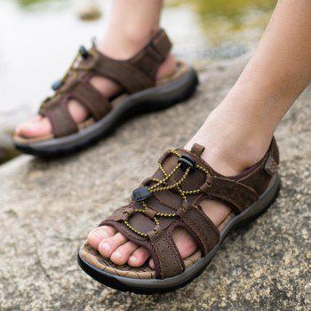 Sandals Leather Beach Casual Shoes Slippers Flip Flops Summer FlatsSneakers - DEEP BROWN 43
