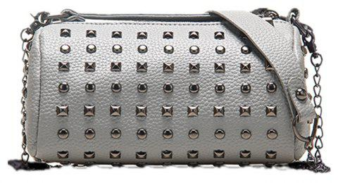 Trend Cylinder Rivets Shoulder Messenger Bag - LIGHT GRAY