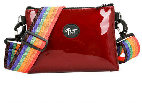 Colorful Straps Casual Shoulder Messenger Bag - LOVE RED