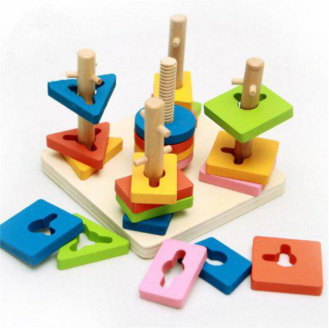 Children Puzzle Toy Multicolored Wooden Blocks Exercise Hand Eye Coordination - multicolor