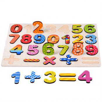 Wooden Hand Grasp Board Digital Puzzle Early Childhood Education for Children - multicolor
