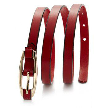 Women Solid Color All-match Genuine Leather Belted with Pin Buckle - RED WINE