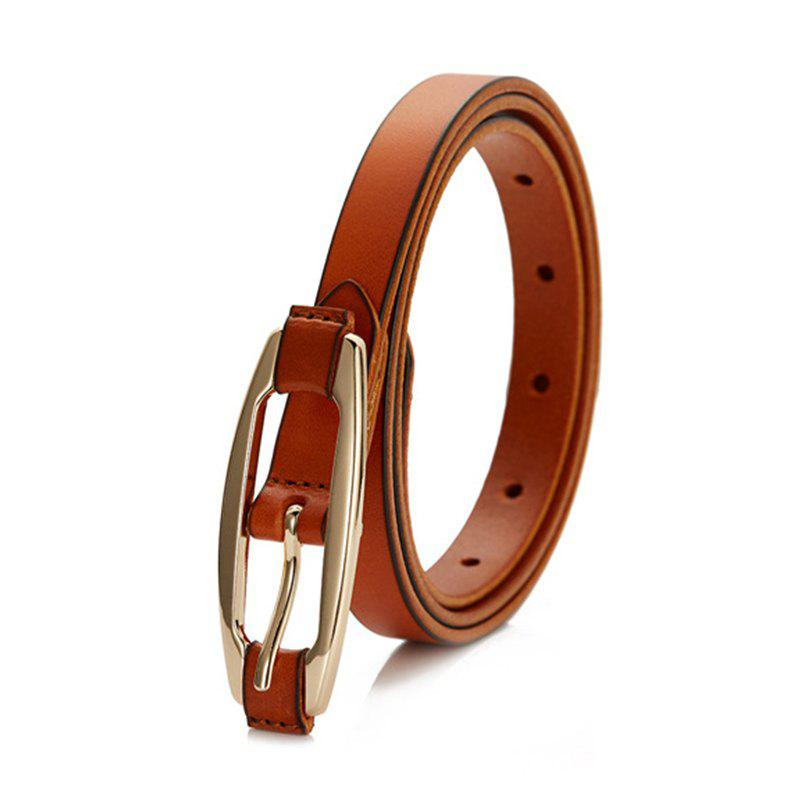 Women Solid Color All-match Genuine Leather Belted with Pin Buckle - BROWN