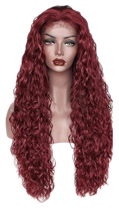Red Small Roll Chemical Fiber Front Lace Wig - RED WINE 24INCH