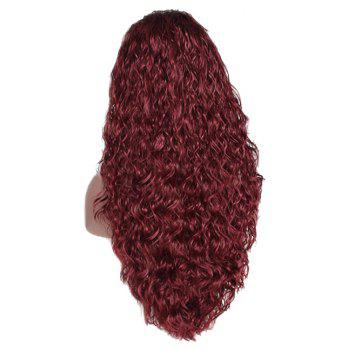 Red Small Roll Chemical Fiber Front Lace Wig - RED WINE 28INCH