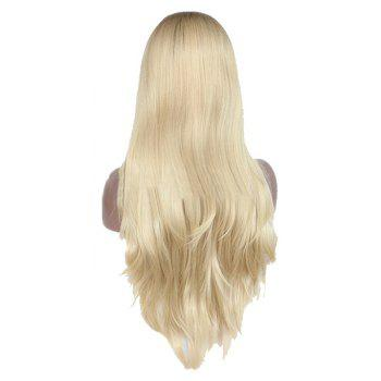 Bright Gold Long Hair Chemical Fiber Front Lace Wig - BLONDE 26INCH