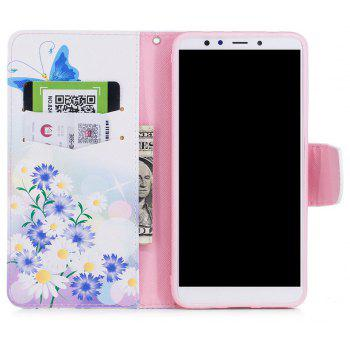Case for Xiaomi Redmi 5 Plus Blue Butterfly Pattern PU Leather Wallet - WHITE