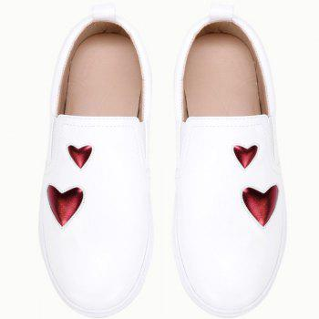 Heart Decorated PU Slip On Shoes - WHITE 39