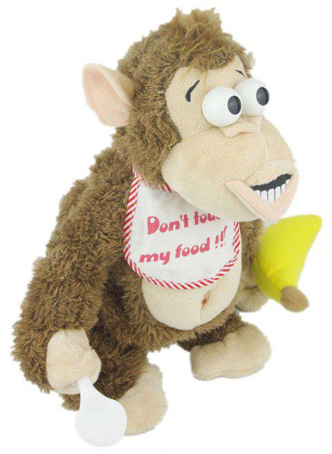 Magnetic Control Standing Monkey Electric Plush Orangutan Toys Gift for Children - CAMEL BROWN