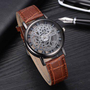 J001 Men Engraving Hollow Leather Band Quartz Dress Watch - BROWN