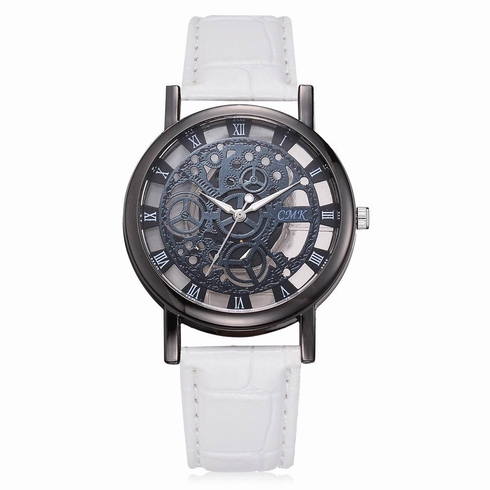 relojes skeleton hollow quartz hombre dress women band business product watch engraving reloj wristwatch mujer fashion clock men watches leather