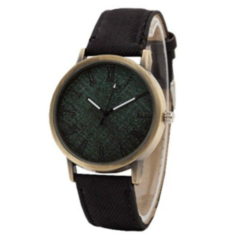 V5 Fashion Men'S Leisure Vintage Denim Canvas Quartz Watch - BLACK