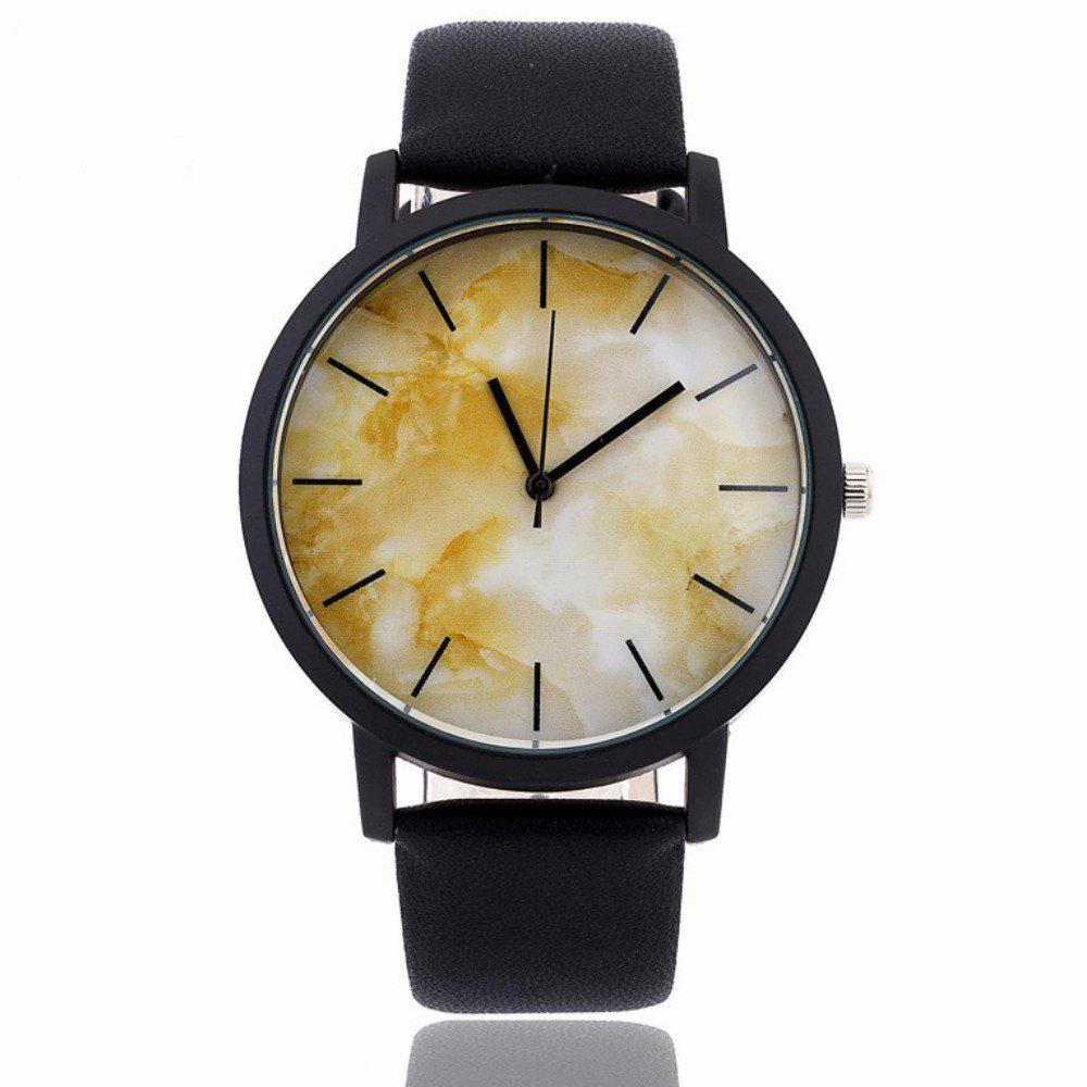 V5 Fashion Granite Pattern Quartz Pointer Watch - BLACK