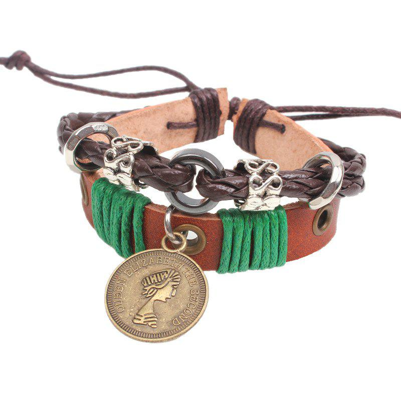 Beaded Jewelry Ancient Coin Bracelet - COFFEE