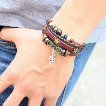 Fashion Musical Note Bracelet Three Stars Style Weaving - COFFEE