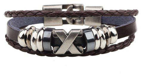 Leather Letter Stainless Steel Accessories Bracelet - COFFEE