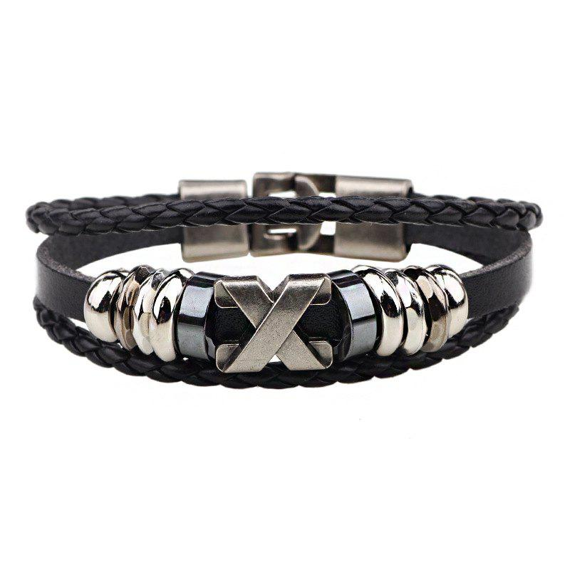 Leather Letter Stainless Steel Accessories Bracelet - BLACK