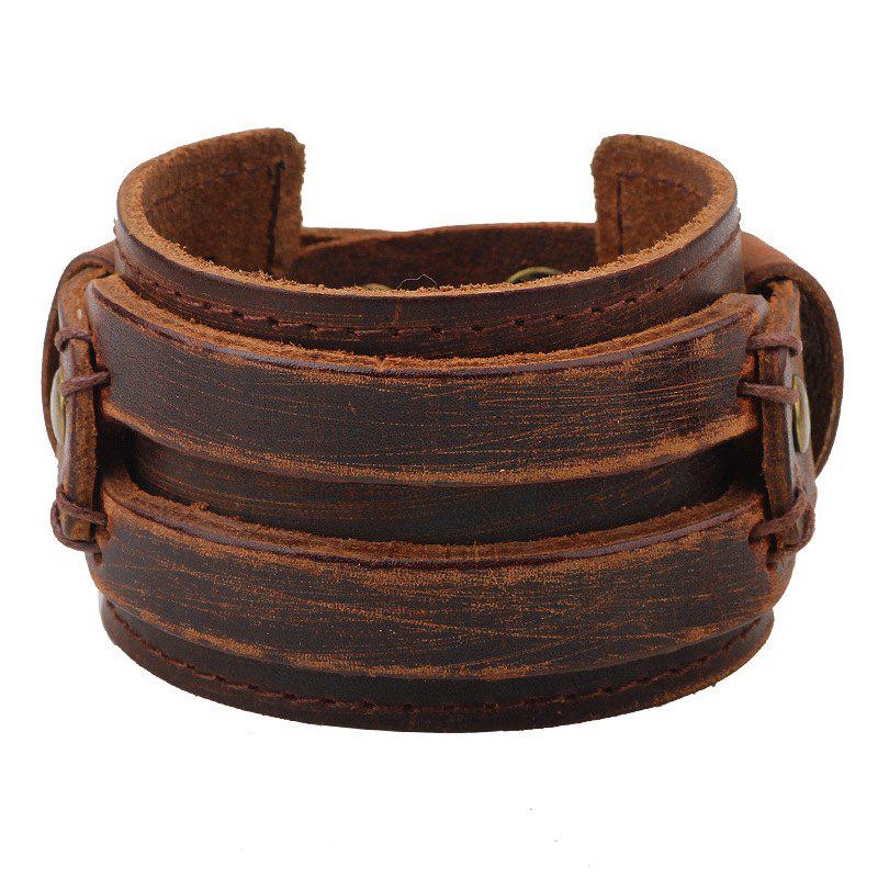 Men's Leather Wide Bracelet - COFFEE