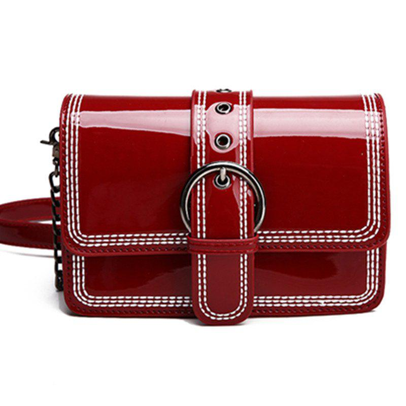 Paint Inclined Shoulder Bag - RED WINE