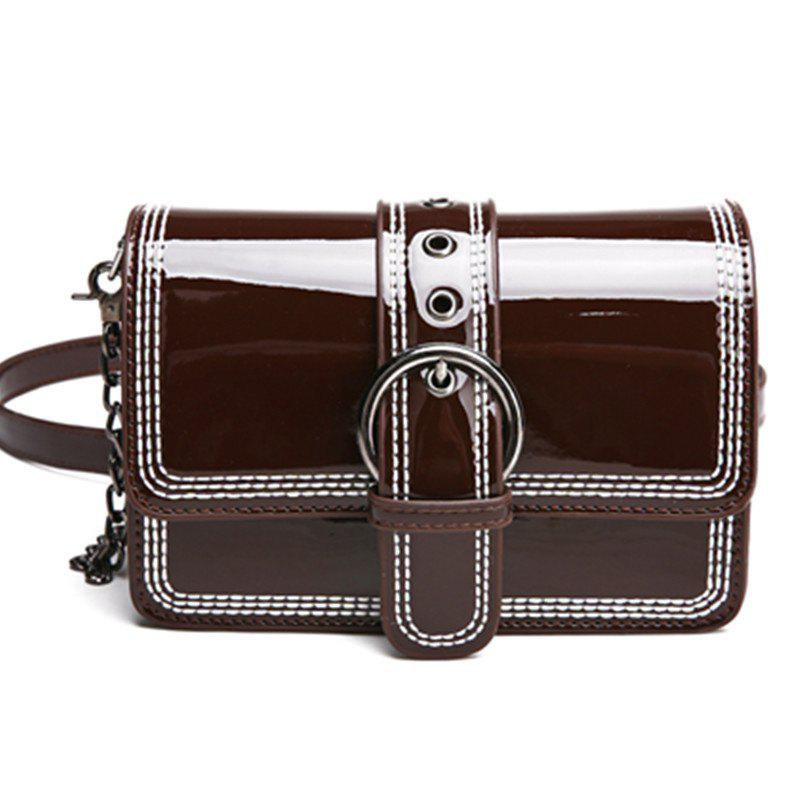 Paint Inclined Shoulder Bag - DEEP BROWN