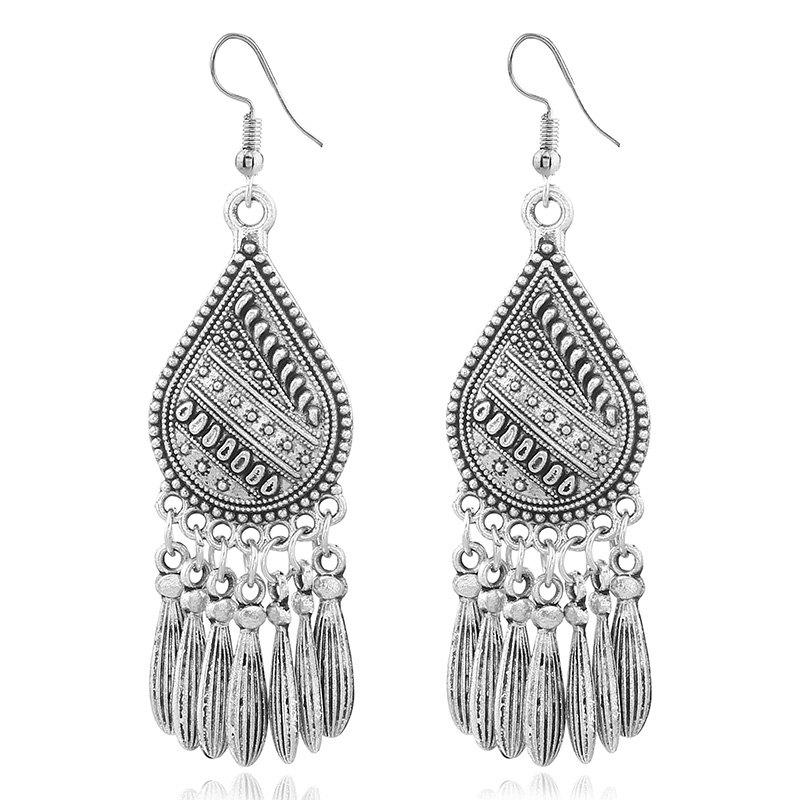 National Wind Fashion Creative Tassel Pendant Earrings - SILVER