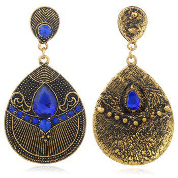 Fashion Jewelry Fashion of Carve Patterns Or Designs on Woodwork Earrings - BLUEBERRY BLUE