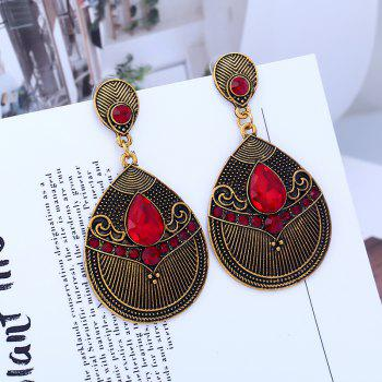 Fashion Jewelry Fashion of Carve Patterns Or Designs on Woodwork Earrings - LAVA RED