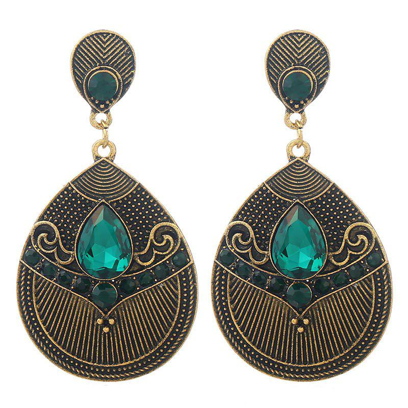 Fashion Jewelry Fashion of Carve Patterns Or Designs on Woodwork Earrings - MEDIUM AQUAMARINE