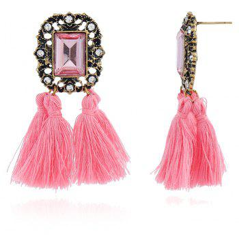 Bohemia Square Earrings and Colorful Line with The New Tassel Earrings - BLUSH RED