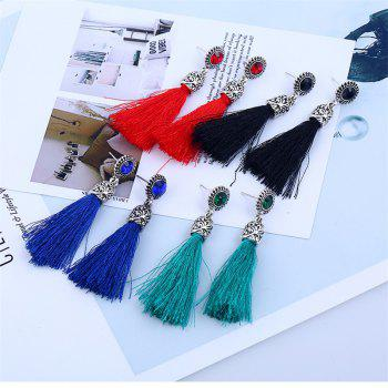 Colorful Line with Temperament Tassel Earrings - BLACK