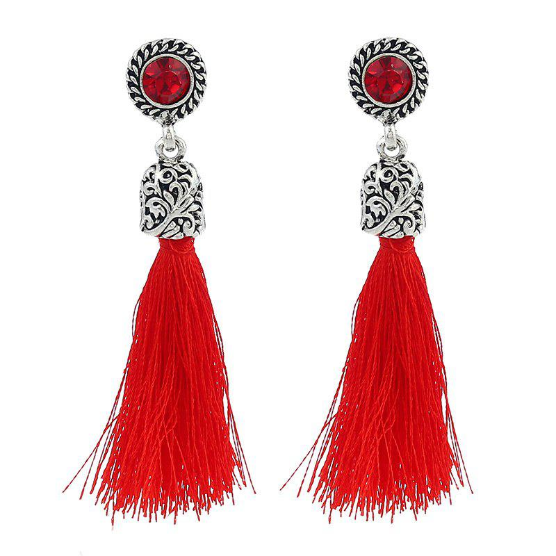Colorful Line with Temperament Tassel Earrings - FIRE ENGINE RED