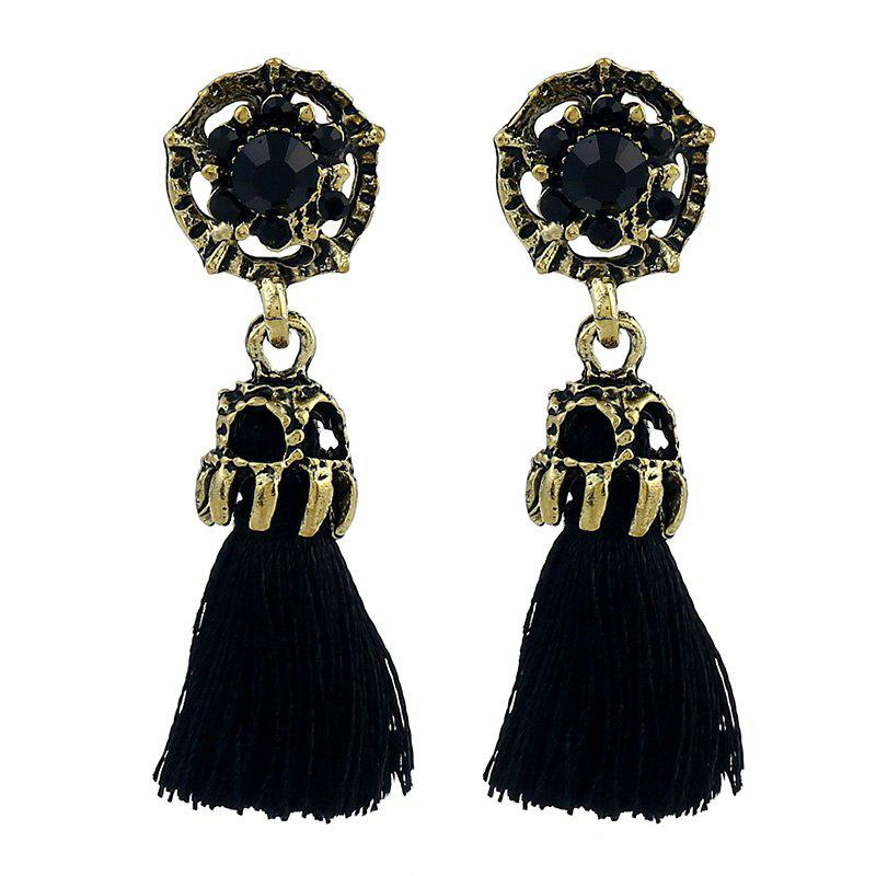 Colorful Temperament Tassel Earrings - BLACK