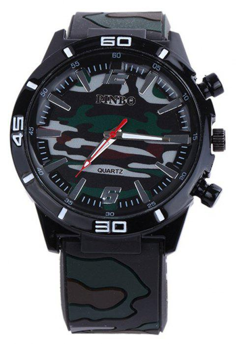 Fashion Camouflage Silicone Watch - BLACK
