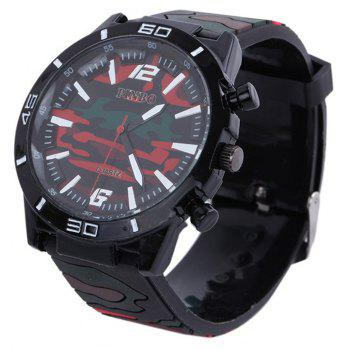 Fashion Camouflage Silicone Watch - RED