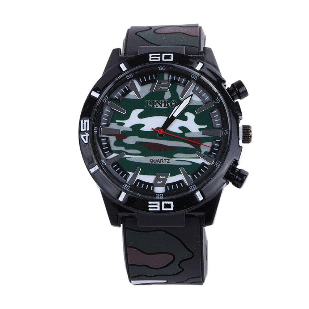 Fashion Camouflage Silicone Watch - GREENISH BLUE