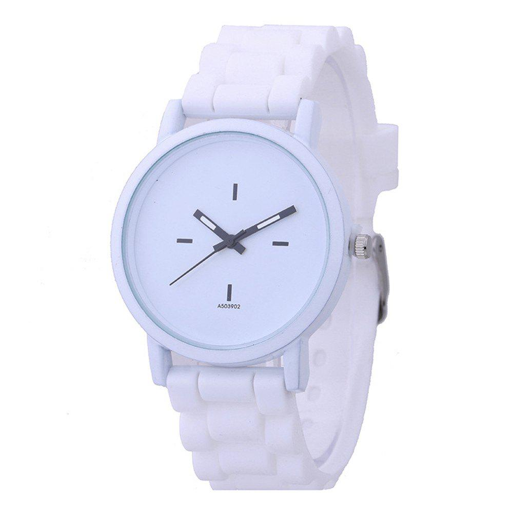 Fashion Korean Black White Strap Watch - WHITE
